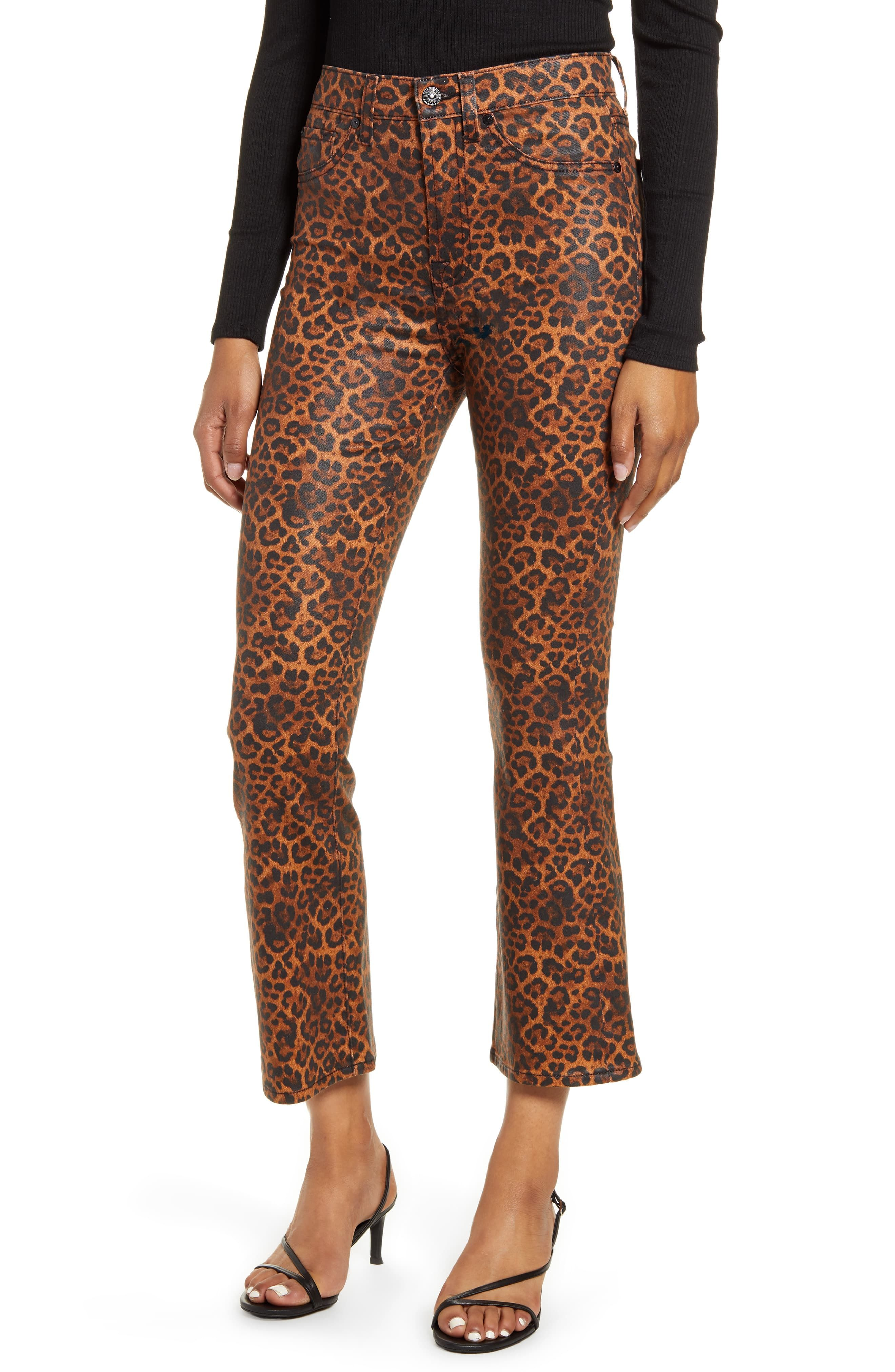 Women S 7 For All Mankind Coated Leopard Print Slim Fit Kick Flare