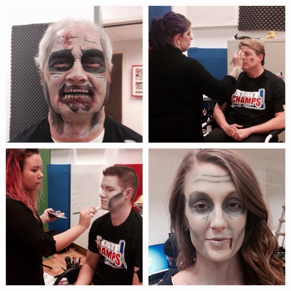 MMA Students doing Halloween makeup over at STATE CHAMPS