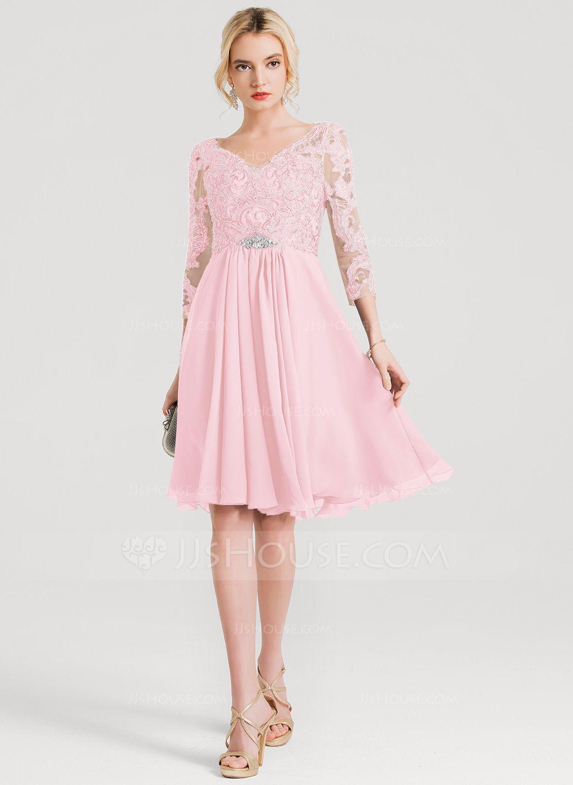 9e19e07bbf0b22 A-Line/Princess V-neck Knee-Length Chiffon Cocktail Dress With Beading  (016150446) - Cocktail Dresses - JJ's House