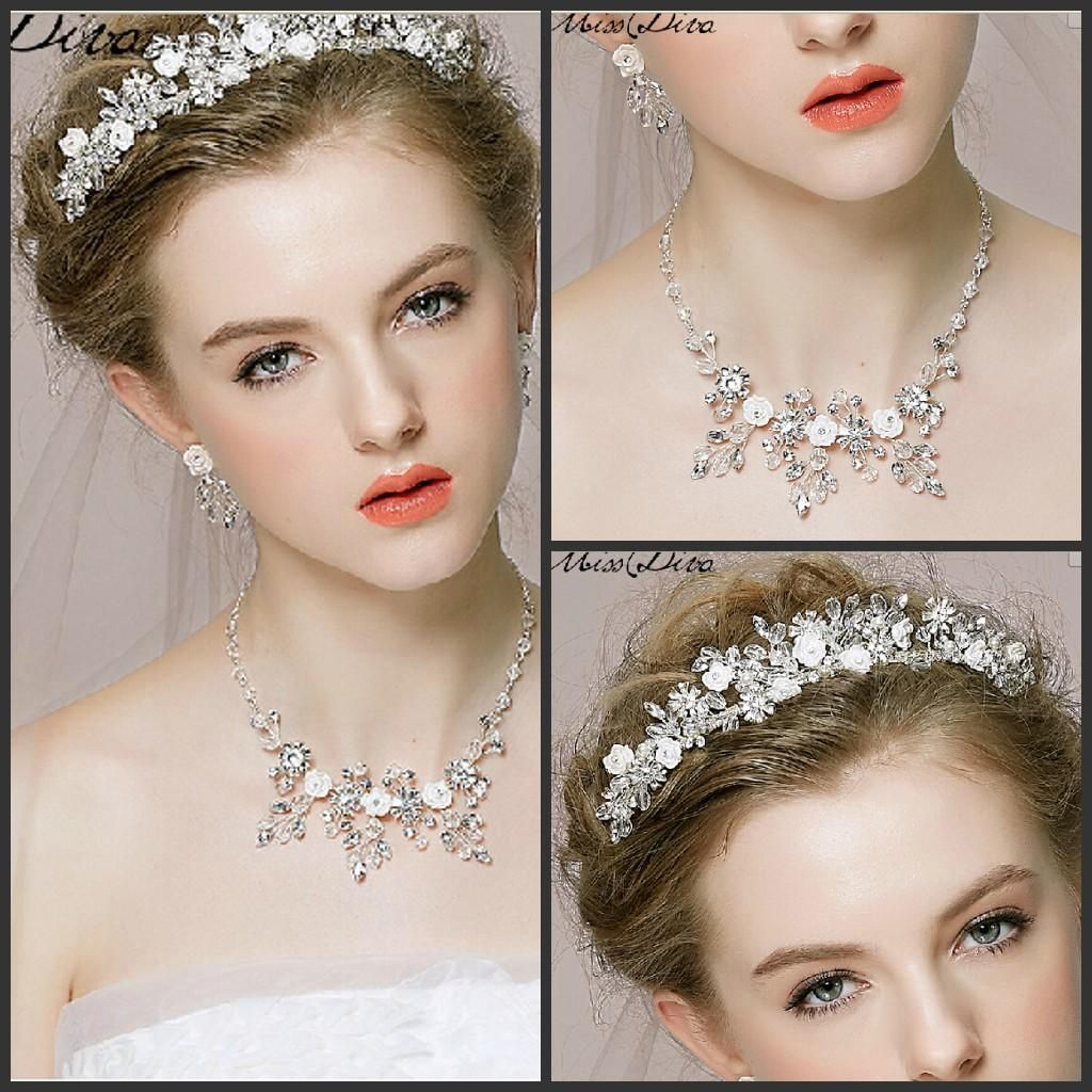 2016 New In Stock Bride Crown Headdress Necklace Earrings Three Piece Fitted Wedding Jewelry Hair Accessories With Jewelry Hair Feathers Hair Jewelry From Spicebaby, $31.42| Dhgate.Com