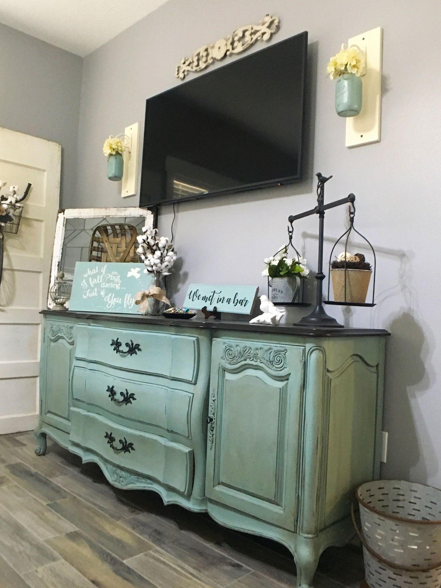 Robin Egg Blue Dresser, French Provincial, Java Gel Stain, Creative ...