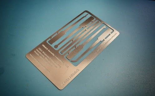 I M Reasonably Sure That Kevin Mitnick Has The Best Business Cards Ever They Include A Lock Picking Computer Security Cool Business Cards Lock Picking Tools