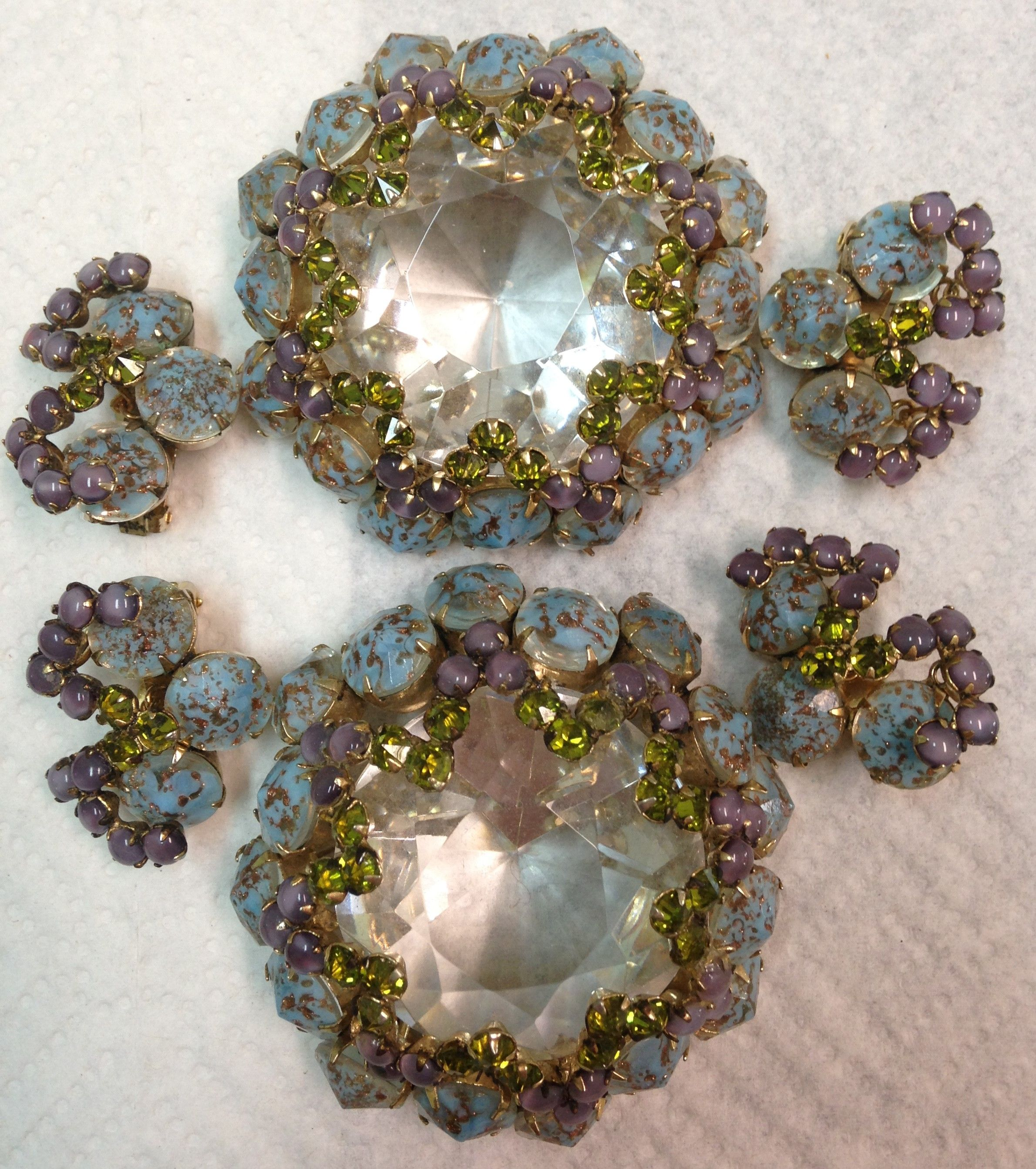 2 HUGE SCHREINER PAPERWEIGHT BROOCHES IN AQUA, LAVENDER & PERIDOT GREEN! THESE ARE VERY HEAVY, JUST LIKE A REGULAR PAPERWEIGHT. LOVE IT! OWN IT!