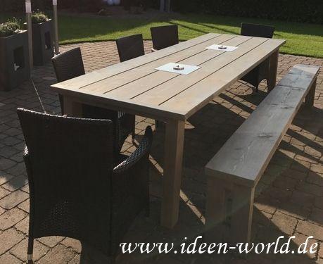 Garten Möbel Tisch mit Feuerstellen und Bank aus massivem Holz