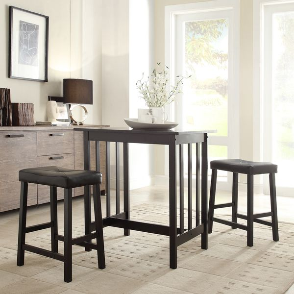 TRIBECCA HOME Nova Black 3 Piece Kitchen Counter Height Dining Set |  Overstock™ Shopping
