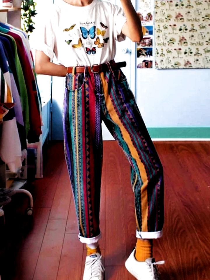 Women Fashion Multicolor Striped Geometry Straight Pants – iLove-Dear
