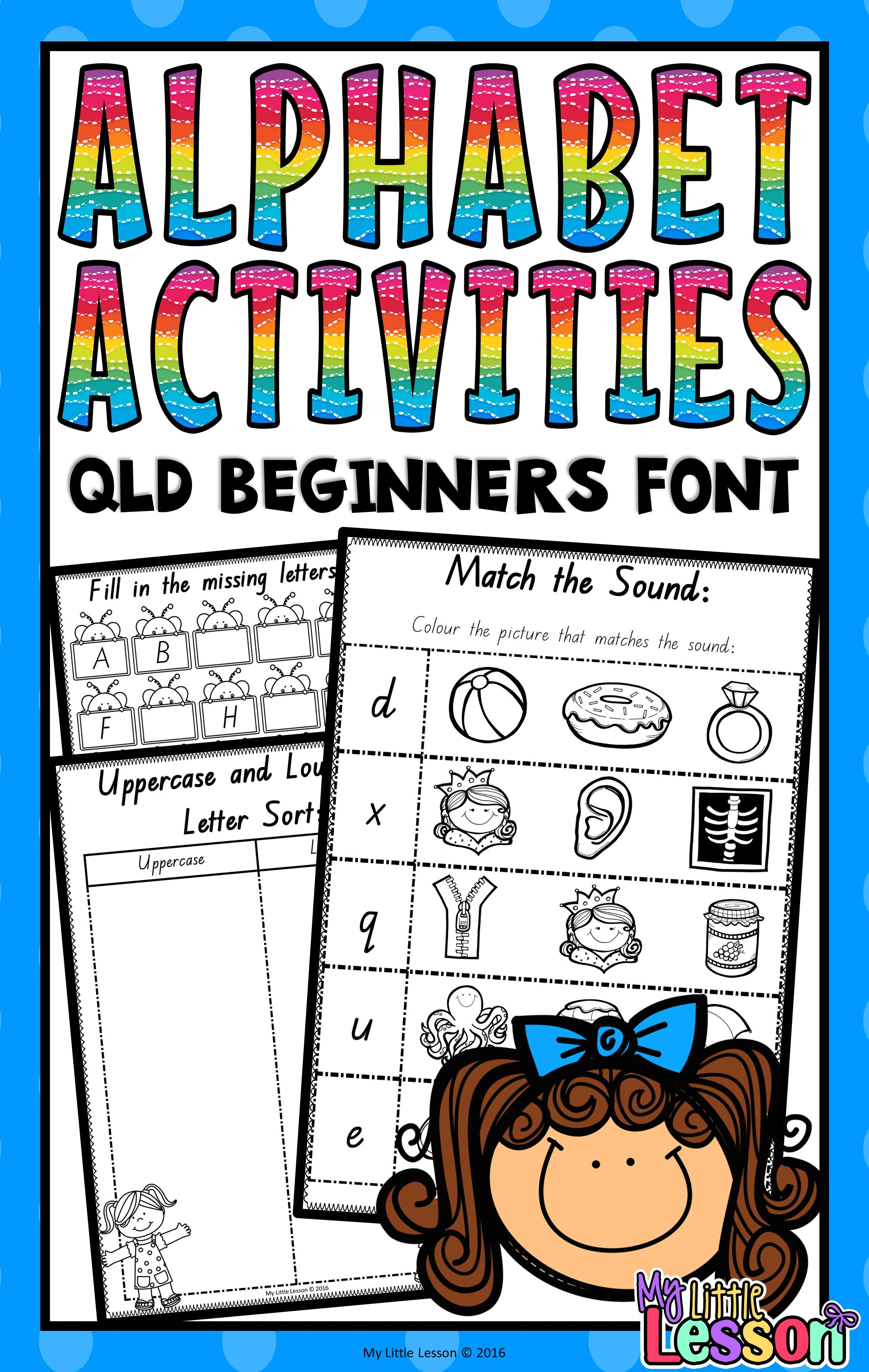 Alphabet Worksheets Qld Beginners Font