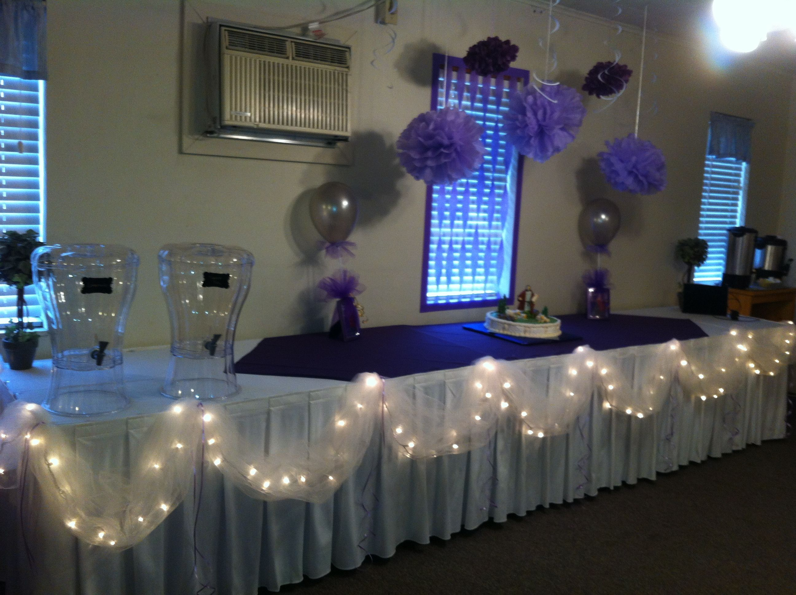 Party decorations purple silver white desserts for Decoration 70th birthday