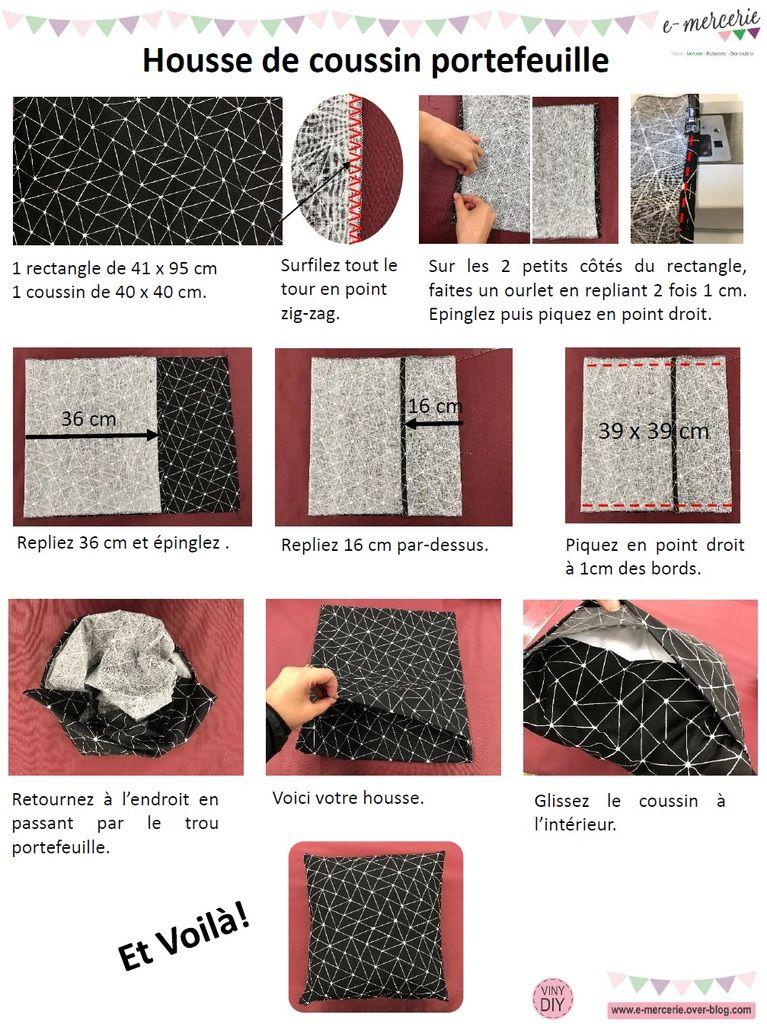 Housse de coussin portefeuille   Tuto Couture DIY | Couture