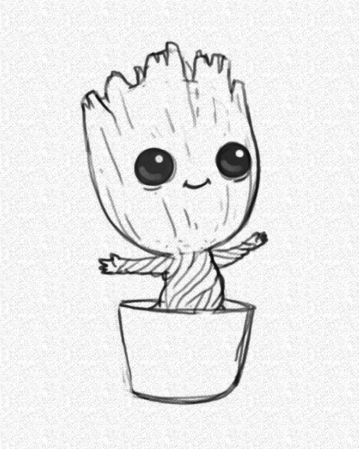Baby Groot In A Pot Black And White Pencil Sketch On White