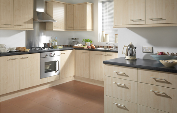 Cut price kitchens amalfi kitchen slab style door in a maple effect finish with ideas for - Modern look kitchen cabinets pictures for maximum effect ...