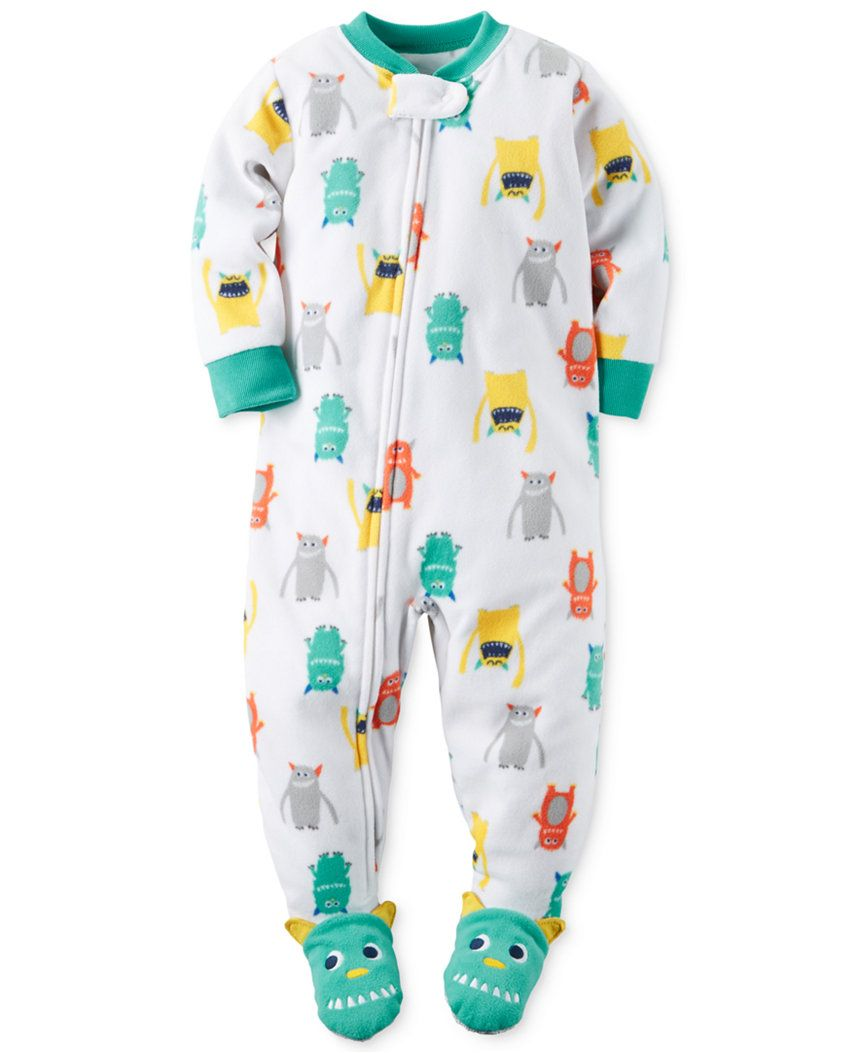 8d68514f8 Carter's Baby Boys' 1-Pc. Monster-Print Footed Pajamas - 12m ...