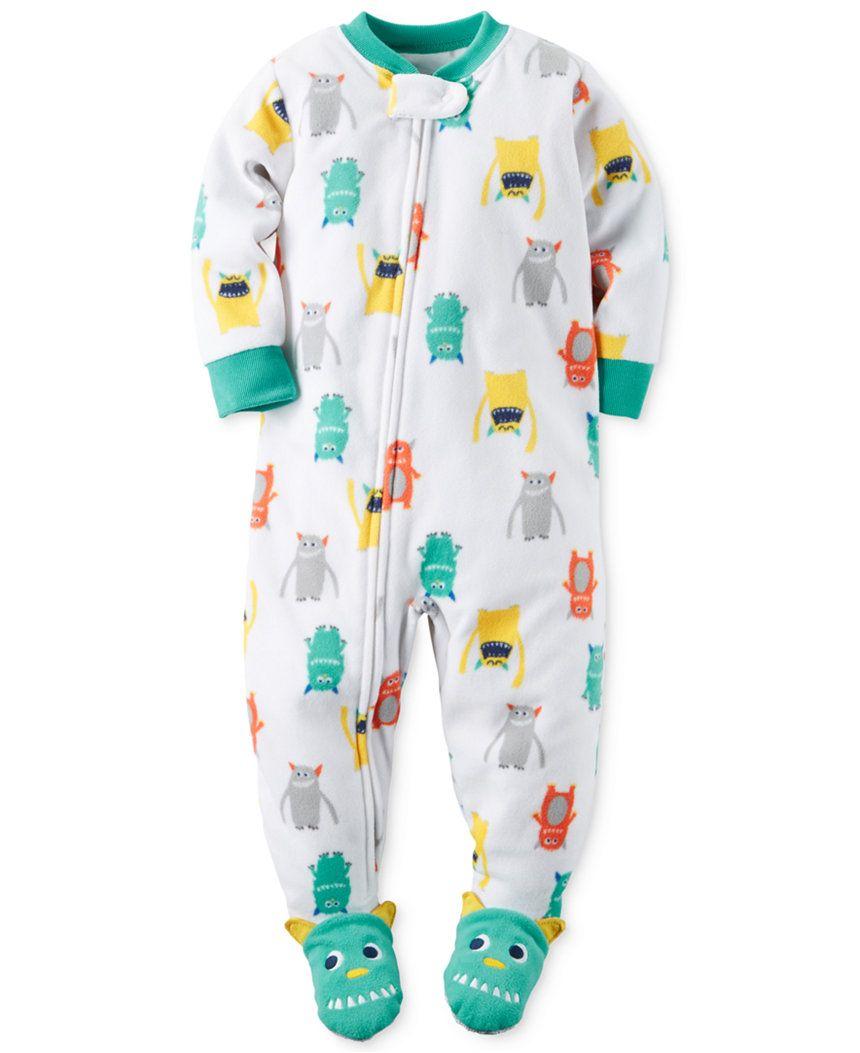 ab12dac71c1bb Carter's Baby Boys' 1-Pc. Monster-Print Footed Pajamas - 12m ...