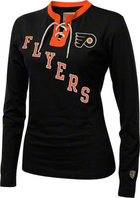 71f0ab7ff87 Philadelphia Flyers Women s Old Time Hockey Catalina Laced Long Sleeve T- Shirt