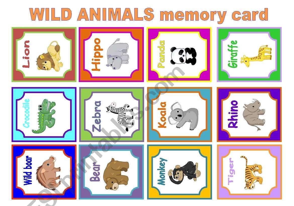 Wild Animals Memory Card Game Worksheet