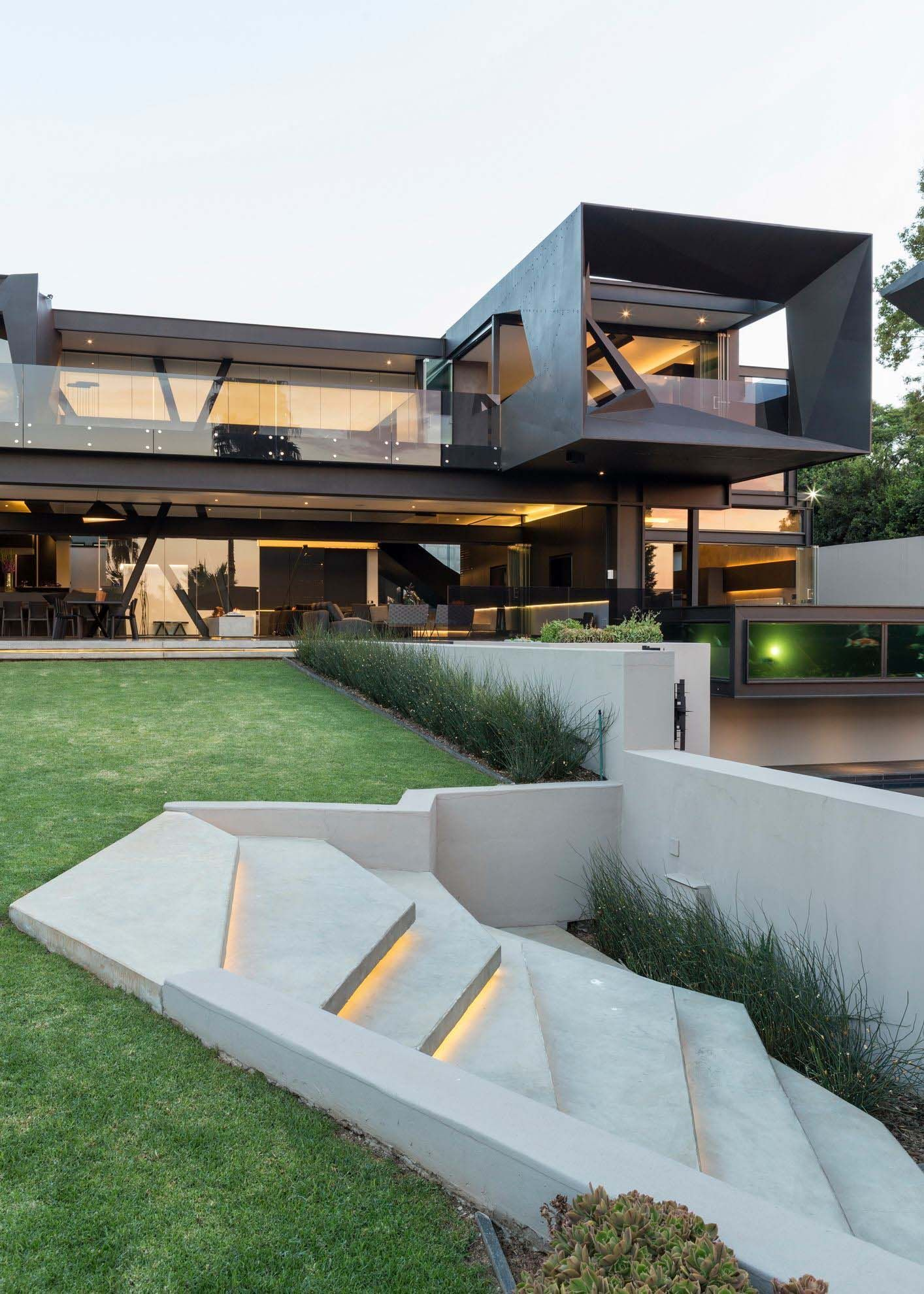 Imposing concrete glass and steel residence in south africa