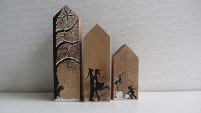 Houten huisjes in winterse sfeer! Handgemaakt en beschilderd. Heb jij interesse in deze huisjes? Kijk dan op site van HoutBijtje.