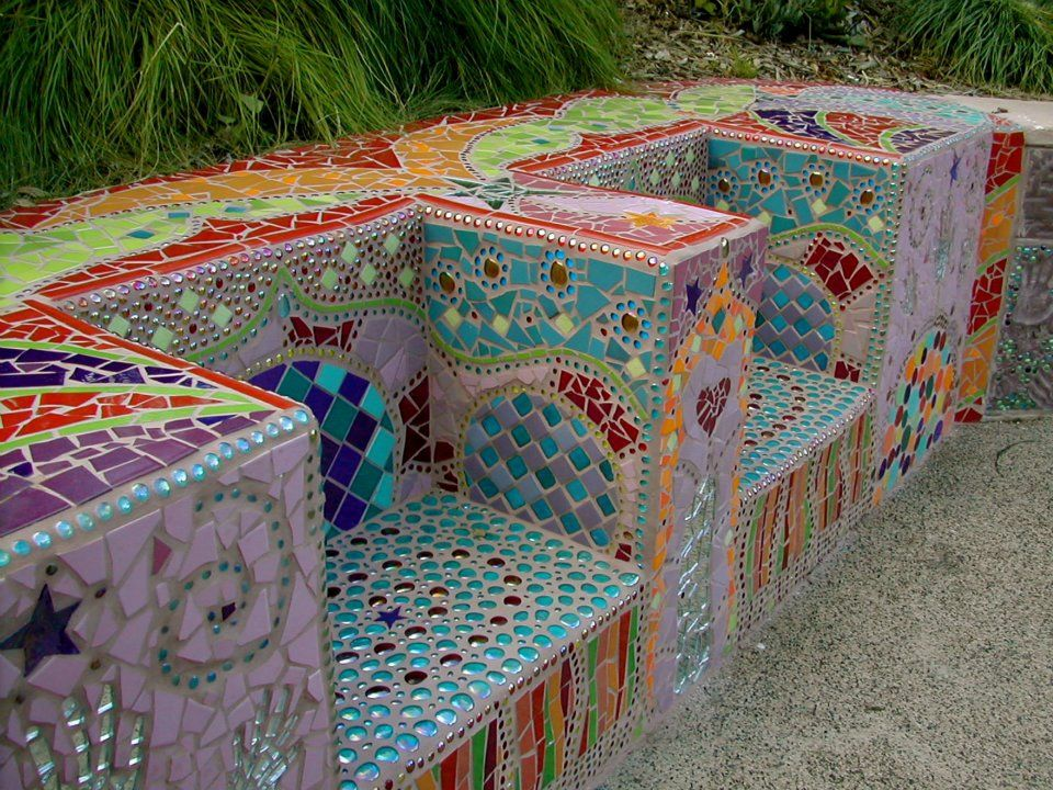 Mosaic Bench This Is Amazing Mosaic Projects Mosaic Murals Mosaic Garden