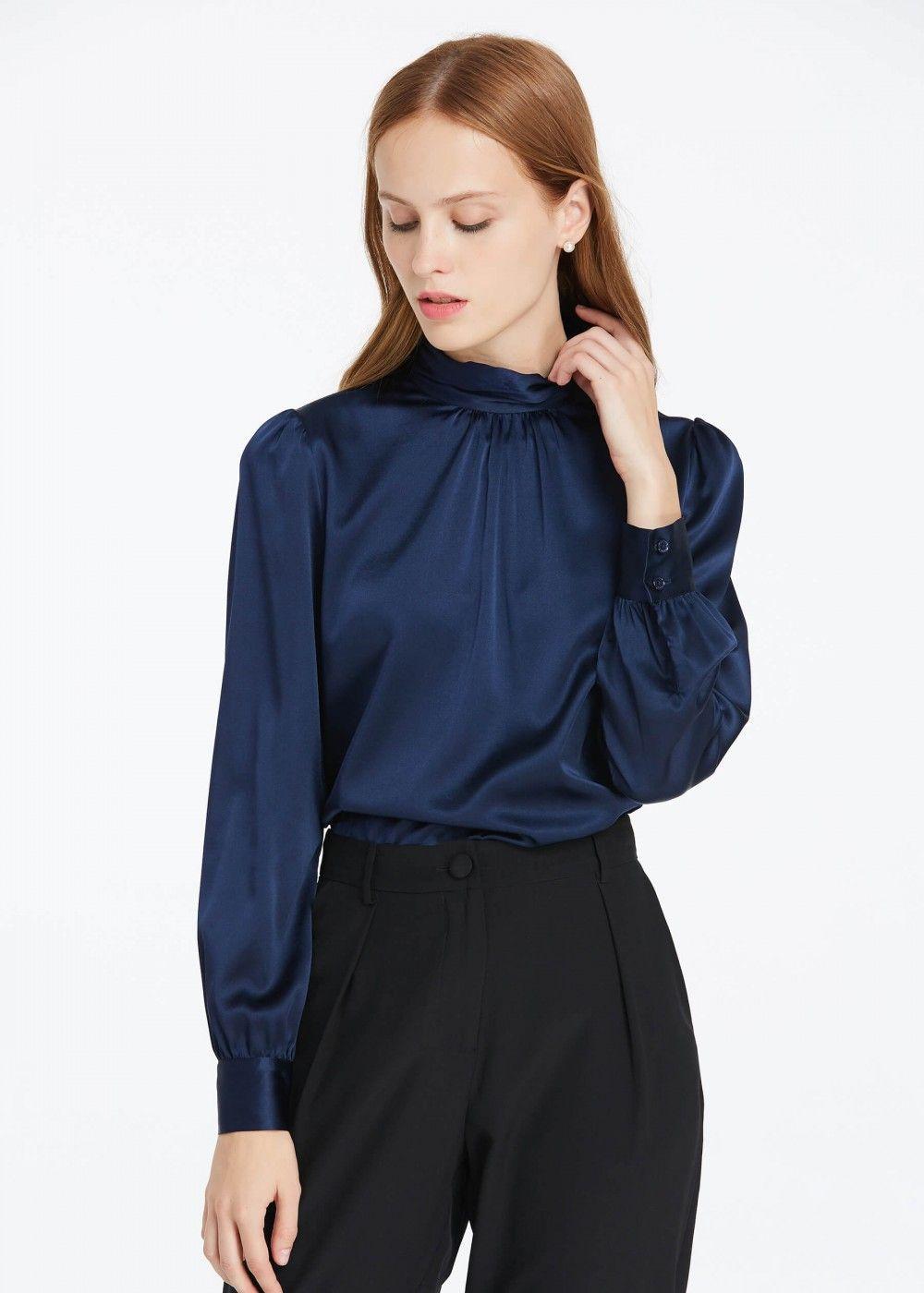 3c66617630d36 retro style silk blouse