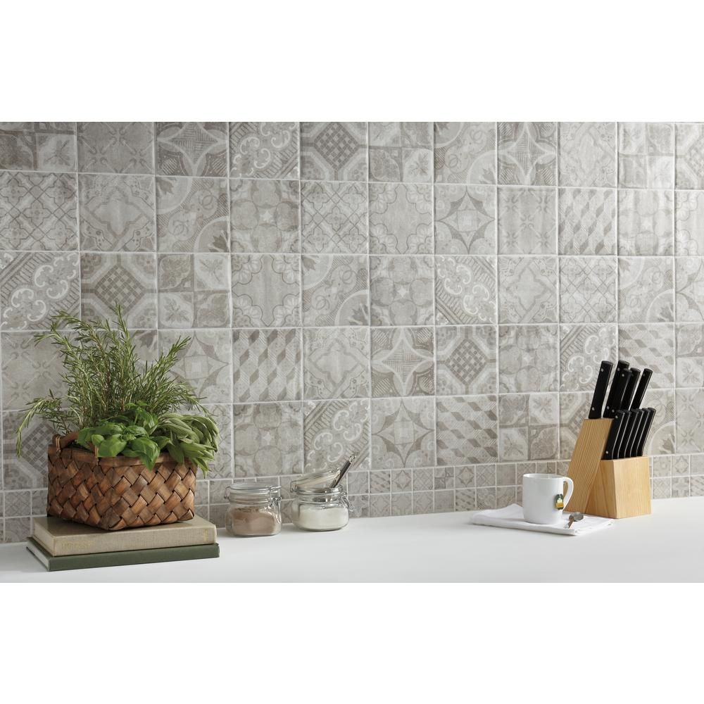 MARAZZI Eclectic Vintage Timeworn Painted 6 in. x 6 in. Ceramic Wall ...