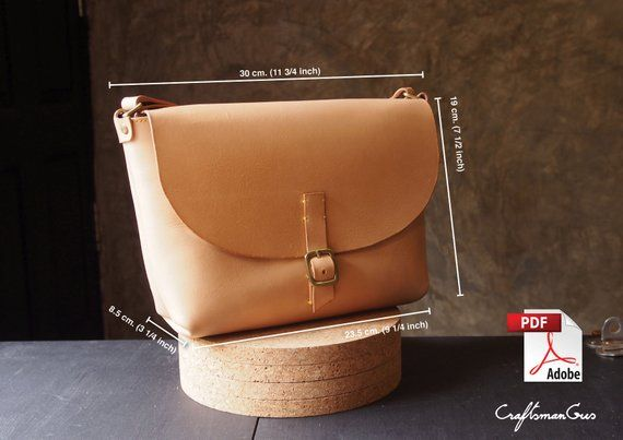 a6c5bb39d9d6 Leather Bag Pattern (PDF Files)  Small Messenger Bag (with how to guide)