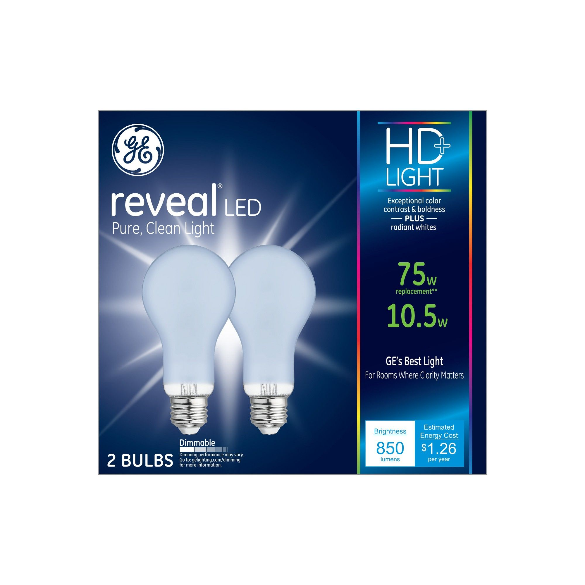 75w Reveal 2pk Aline Led Light Bulb White General Electric