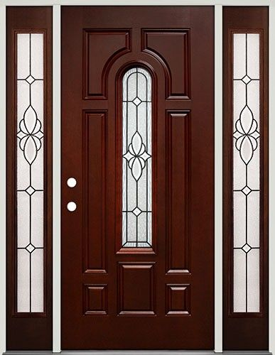 Genial Center Arch Pre Finished Mahogany Fiberglass Prehung Door Unit With  Sidelites #18