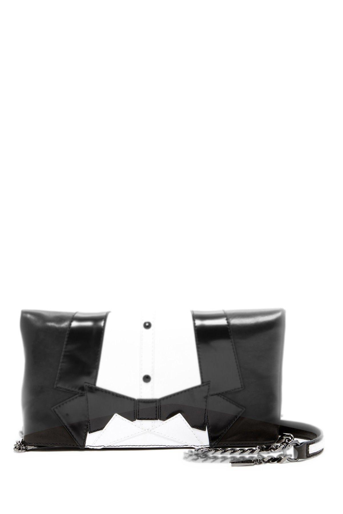 Tuxedo Me Leather Foldover Clutch