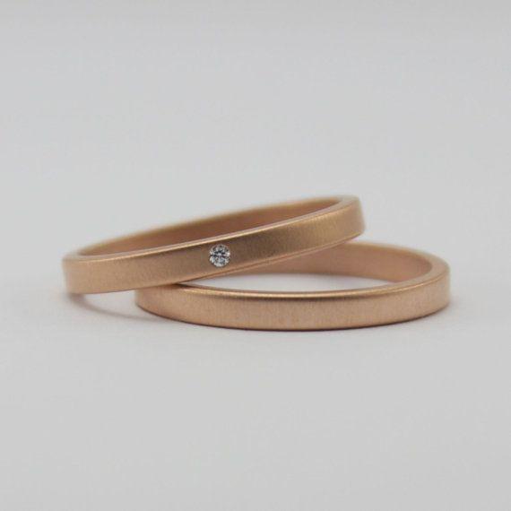 e2ace139242 18 Karat Rose Gold Ring Set with Flush Set White Diamond - Matte Finish  Pink Gold Rings - Contemporary Wedding Bands - Engagement Ring Set