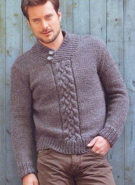 Мужской пуловер спицами. Работа Марины Ефименко вязание и 34