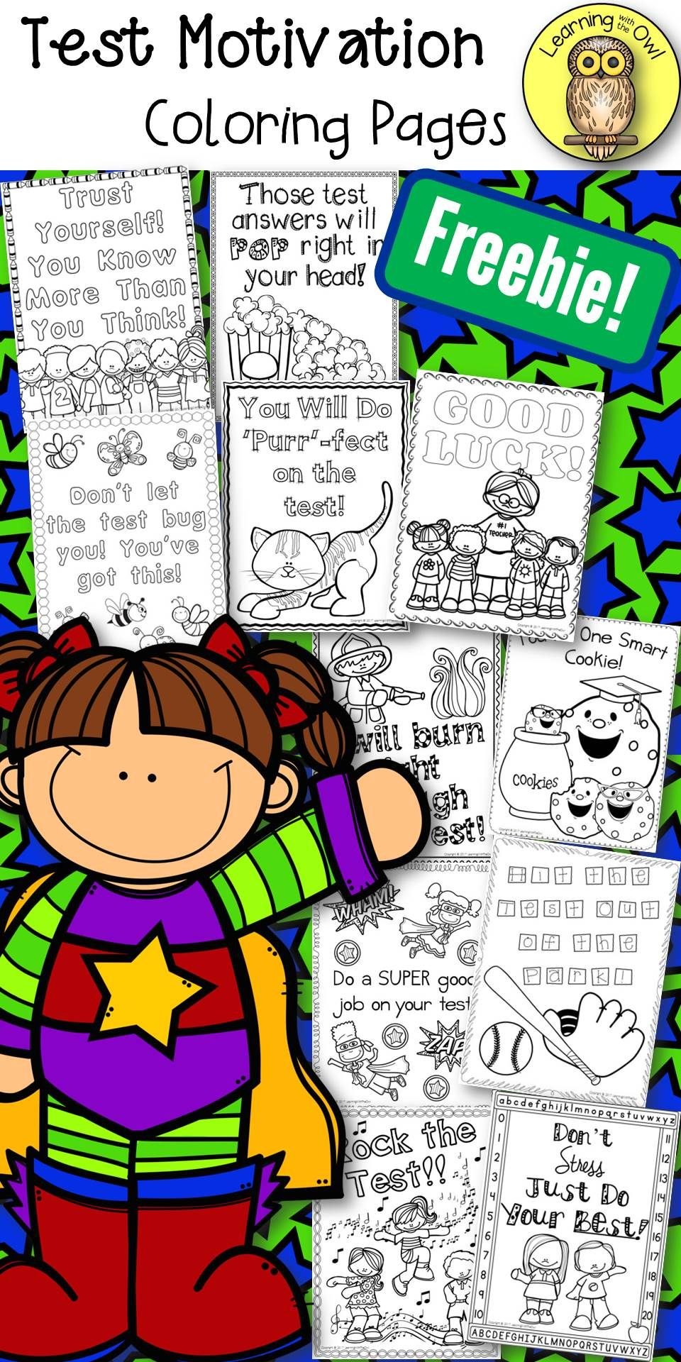 Test Motivation Coloring Sheets FREEBIE Great For Taking Time