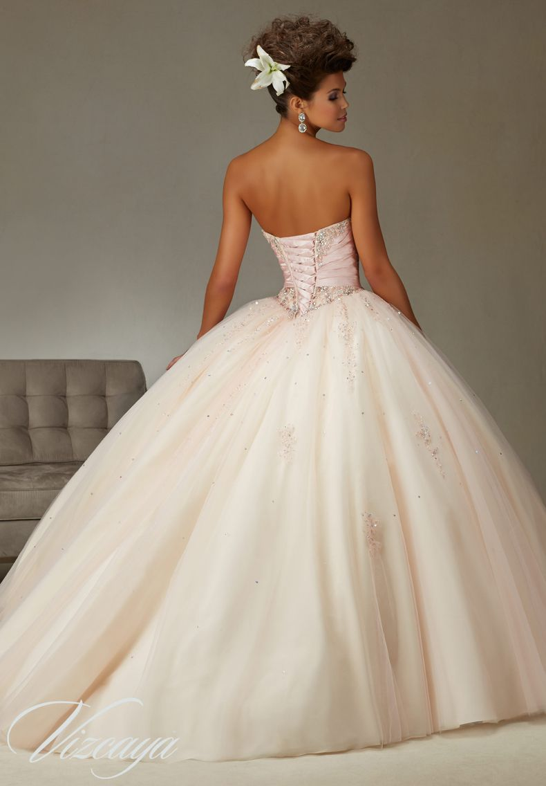 974445888 Quinceanera Dress Vizcaya Morilee 89069 Two tone satin and tulle ball gown  with beading Colors: Blush/champagne, Teal/Aqua, Cerise/princess pink and  white A ...