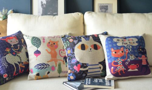 """Cats And Gril Colorful Catoon Animals Pillow Case Cushion Cover Square 18"""" PQ288   eBay"""