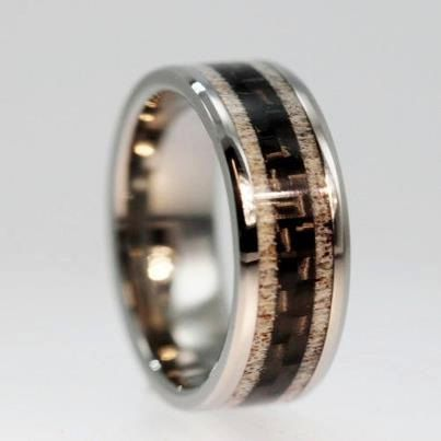Unique Carbon Fiber Ring Deer Antler Wedding Band With Titanium