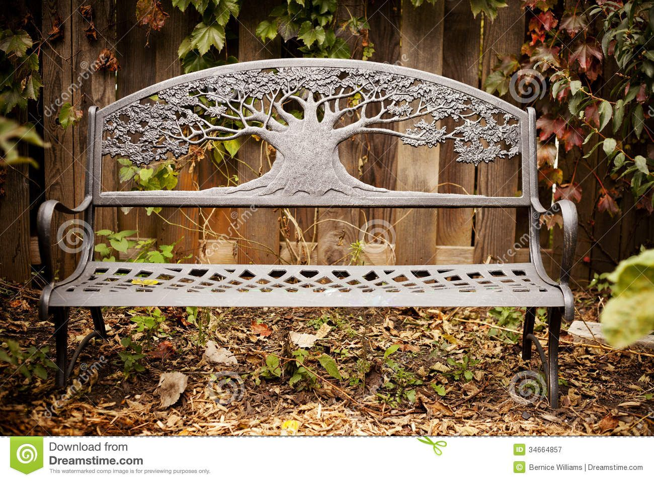 Garden Decorative Garden Bench Garden Bench Autumn Decorative Iron Park Leaves Wooden Fence 34664857 Bench Decor Decor Home Decor
