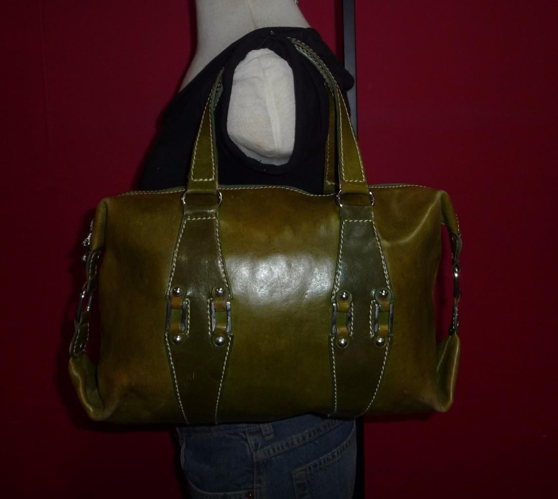 Vintage Green Leather Medium Satchel Doctor Zip Tote Purse Bag Made In Italy Coach