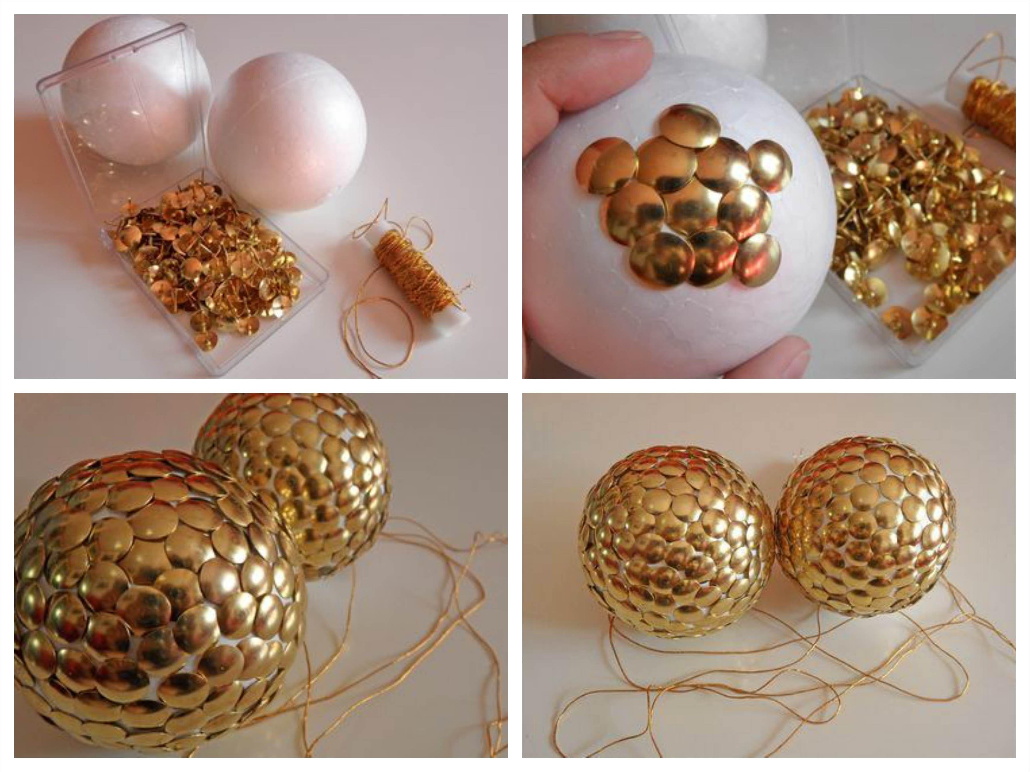 Bola chinchetas navidad pinterest bolitas navidad y - Como decorar una bola de navidad ...