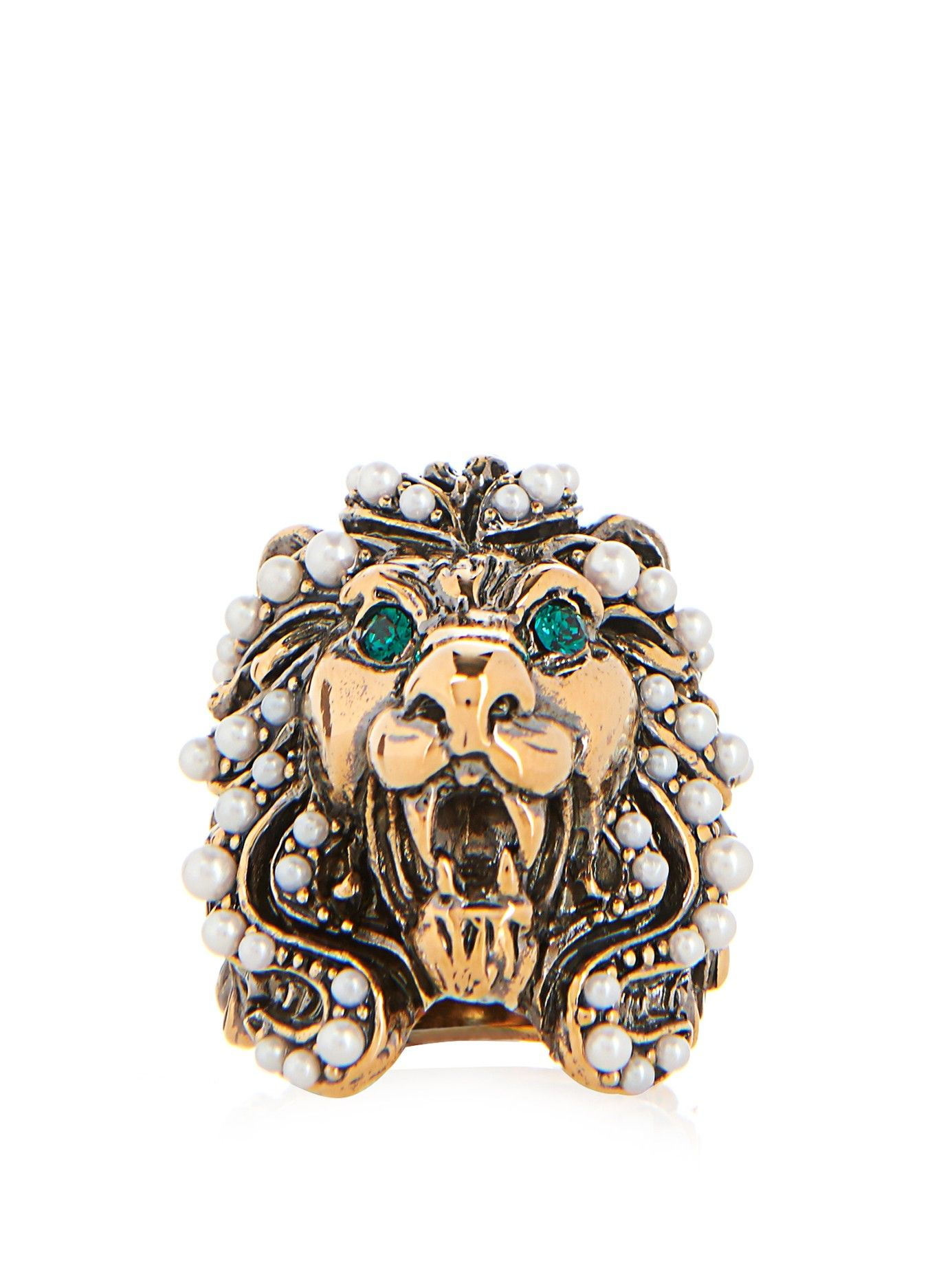 6b1a516df77 Crystal and pearl-embellished lion ring