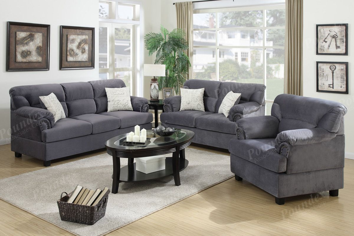 Poundex Grey 3 Pcs Sofa Set F7916 Cheap Living Room Sets 3 Piece Living Room Set Living Room Sets 3 piece sofa set cheap