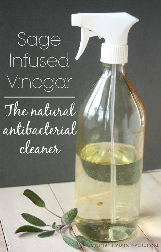 DIY Sage Infused Vinegar Naturally Anti-Bacterial Cleaning Spray
