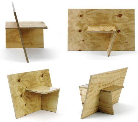 No Nonsense Minimalism Plywood Slot Work Furniture Set It Could Be Made As Interlocking Paper Shapes Plywood Projects Plywood Furniture Plywood Sheets