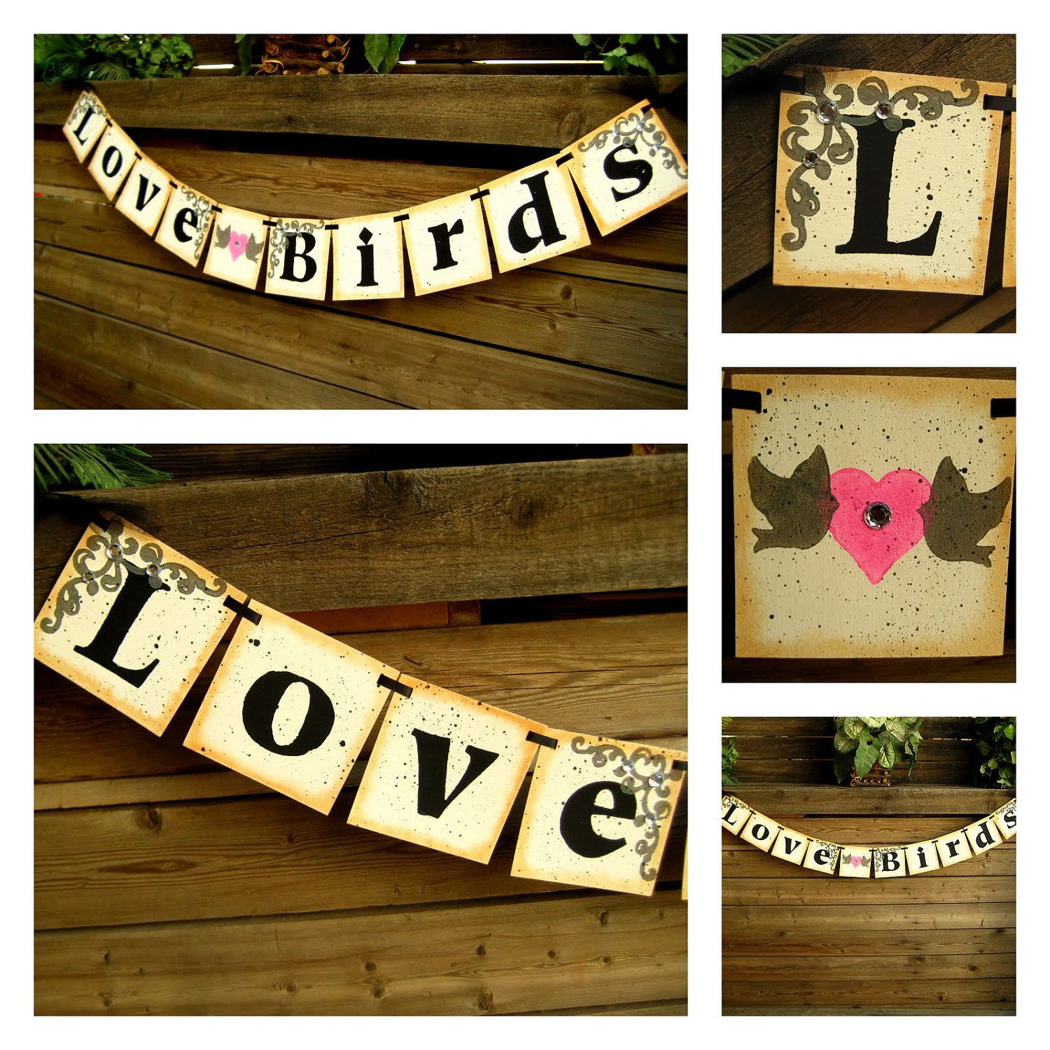 Love birds wedding banner garland bunting bridal shower decor i dont like the look of this banner that much but i like that it says love birds considering our bird theme junglespirit Choice Image