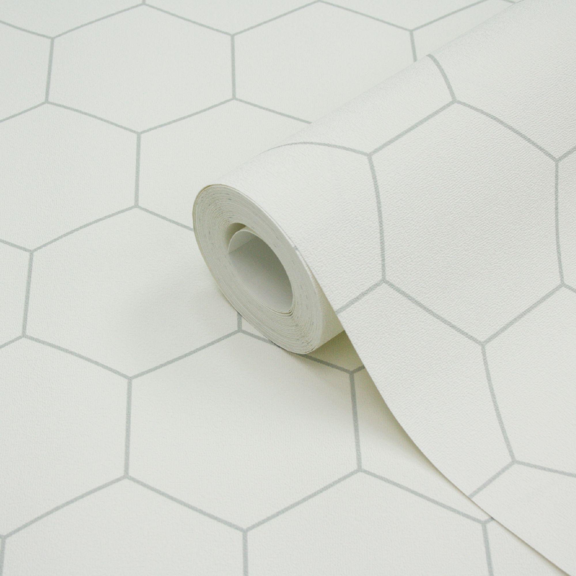 Sce Lutece Geometric White & Grey Hexagons Wallpaper | Wallpaper ...