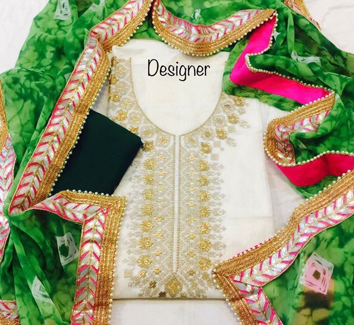 SBTrendZ Chanderi Silk Salwar Kameez  1900shipping. Fabrics Chander Silk top with golden zari work on neck Chiffon dup with gotta Patti pearl lace  For more details and to order mail us on sbtrendz@gmail.com or Whatsapp 91 9495188412; Visit us on http://ift.tt/1pWe0HD or http://ift.tt/1NbeyrT to see more ethnic collections.   #Jacket #Lehenga #Gown #Kurti #SalwarSuit #Saree #ChiffonSaree #salwarkameez #GeorgetteSuit #designergown #CottonSuit #AnarkalaiSuit #BollywoodReplica #HandloomSaree…