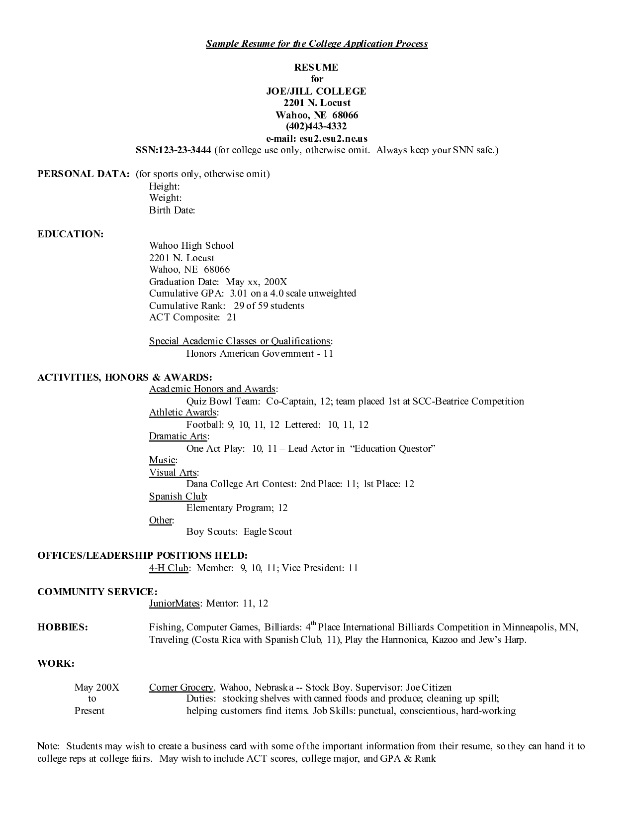 Resume Samples For College Applications Sample The