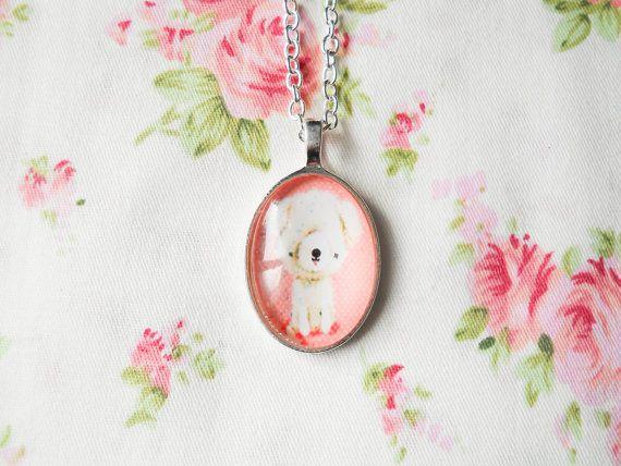 Vintage Puppy Necklace, Kawaii Necklace, Cute Necklace, Pretty Necklace, Retro Dog Necklace, Retro Puppy, Pendant Necklace, Glass Cabochon