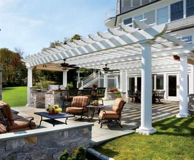 Large Span Pergola Open Your Imagination To Enjoying An Outdoor Kitchen And Sitting Room That Accommodates A Full Com Pergola Patio Pergola Shade Patio Shade