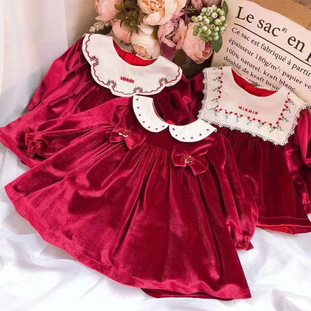 0-7Y Baby Girl Autumn Winter Wine Red Velvet Long Sleeve Vintage Spanish Princess Dress for Girls Birthday Christmas Party Dress #babygirlpartydresses