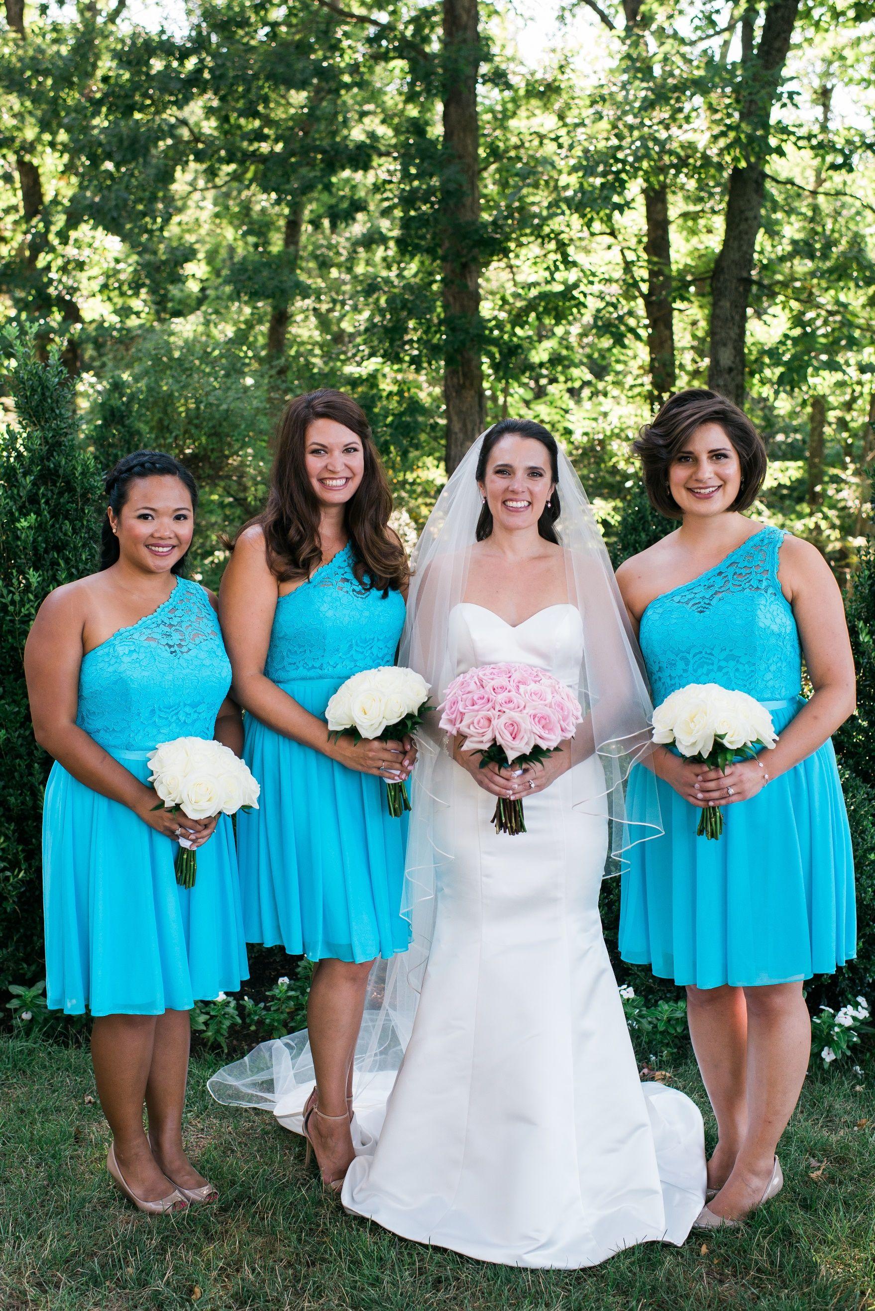 Malibu teal blue bridesmaid dresses with one shoulder | DJ + Jess ...
