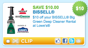 Lowes: $10 Off Big Green Deep Cleaner Rental = $14 99 a Day